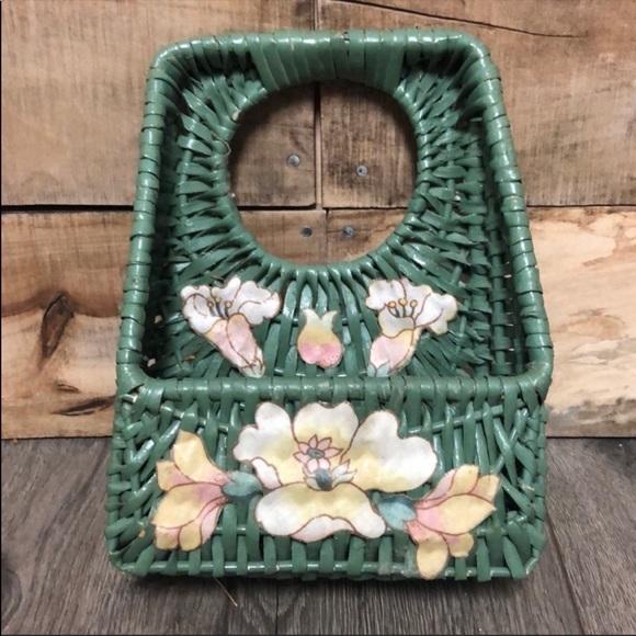 Vintage cottagecore green home wall basket planter